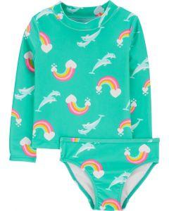 Carter's vestido de baño verde con arcoiris