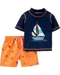 Carter's set 2 piezas vestido de baño short y camisa