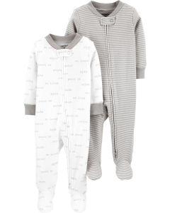 Carter's set 2 pijamas gris y blanco