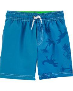 Carter's short de baño azul con dinosaurios