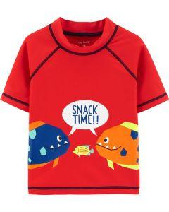 Carter's camisa de baño roja con peces
