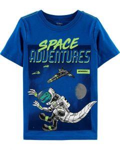 Carter's t-shirt azul con dinosaurio en el espacio