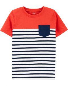 Carter's t-shirt naranja con azul de rayas