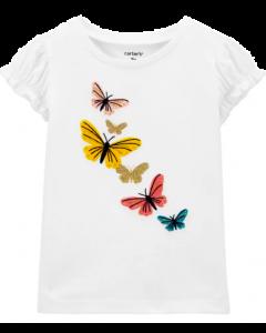 Carter's t-shirt blanca con mariposas