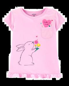 Carter's t-shirt rosada con conejitos