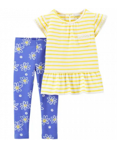 Carter's  set 2 piezas legging flores y camisa a rayas