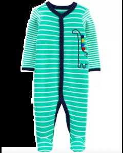 Carter's pijama verde de rayas con dinosaurio