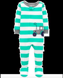 Carter's pijama con pie  a rayas carrito