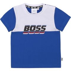 Hugo Boss t-shirt azul con blanco y logo al frente