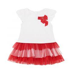 Mayoral vestido blanco y rojo tul